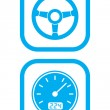 Wheel and Speedometer Icons - Stock Vector