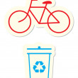 Bicycle and Recycle Icons — Stock Vector