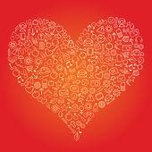 Corazón de web — Vector de stock