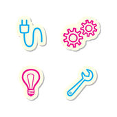 Gear, Bulb, Spanner and Plug Icons — Stock Vector