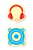 Headphones and Speaker Icons — Stock Vector