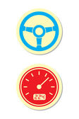 Wheel and Speedometer Icons — Stock Vector