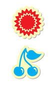 Sun and Cherry Icons — Stock Vector