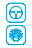 Pictogrammen van wiel en snelheidsmeter — Stockvector
