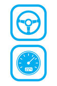 Wheel and Speedometer Icons — Stockvector