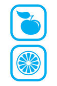 Iconos de manzana y naranja — Vector de stock