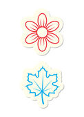 Maple Leaf and Flower — Stock Vector