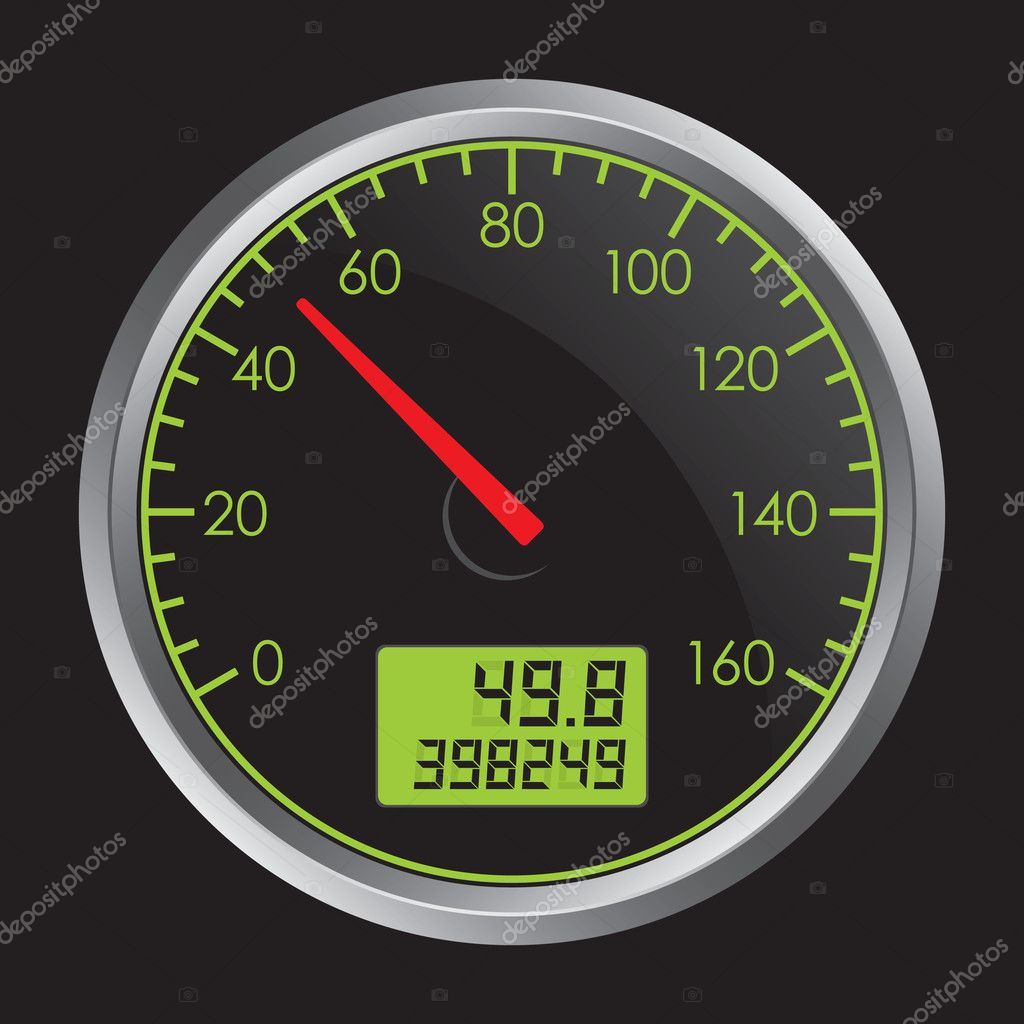 Vector Illustration of Speedometer on Black Background — Stock Vector #4613853
