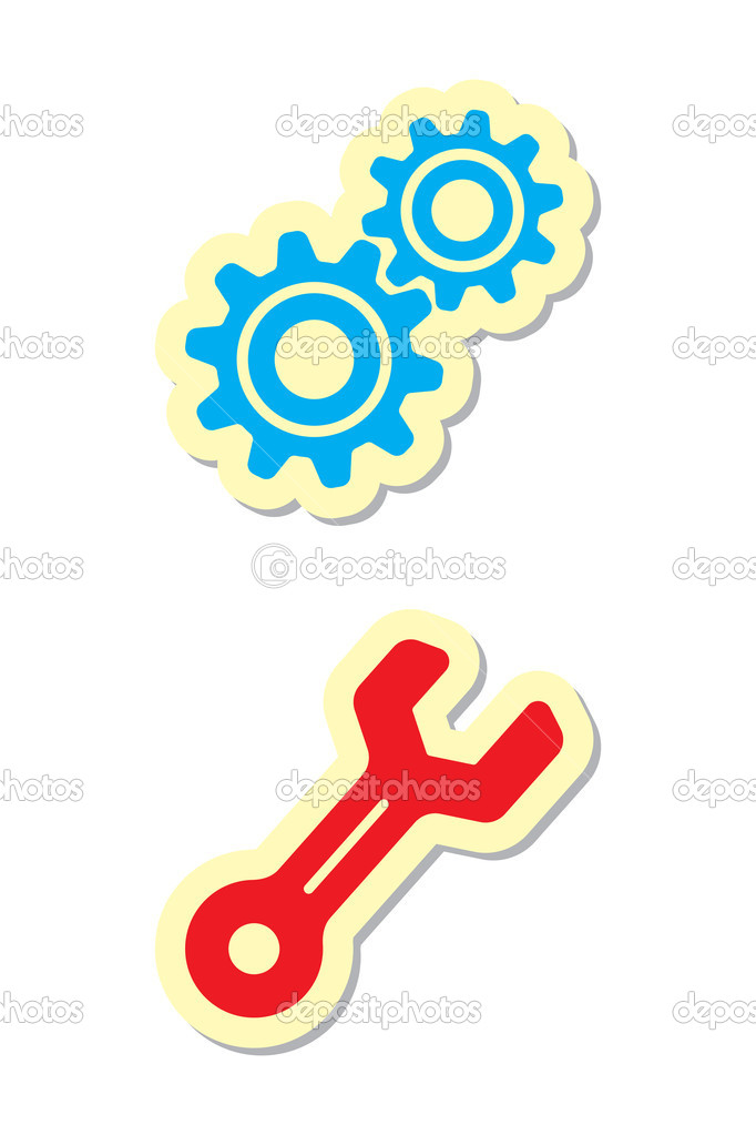 Vector Illustration of Gear and Wrench Icons — Stock Vector #4613940