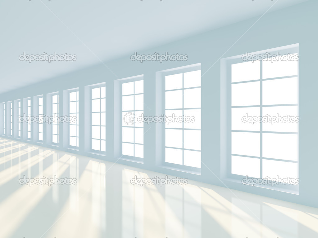 3d illustration of long empty hallway  Stock Photo #4892156