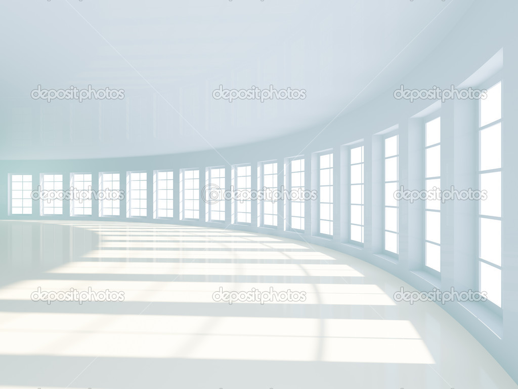 3d Illustration of White Room Interior with Windows — Stock Photo #4892167
