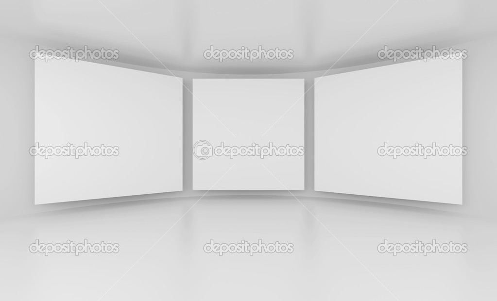 3d Illustration of Gallery Interior or White Screens  Stock Photo #5332918