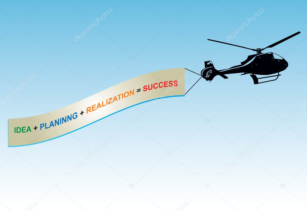 Abstract color graphics, about innovative idea with banner and helicopter Silhouette — Stock Vector #5165867