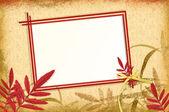 Autumn vintage frame on a grunge background — Stock Photo