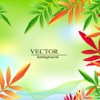 Vector green background with autumn leaves — Stock Vector