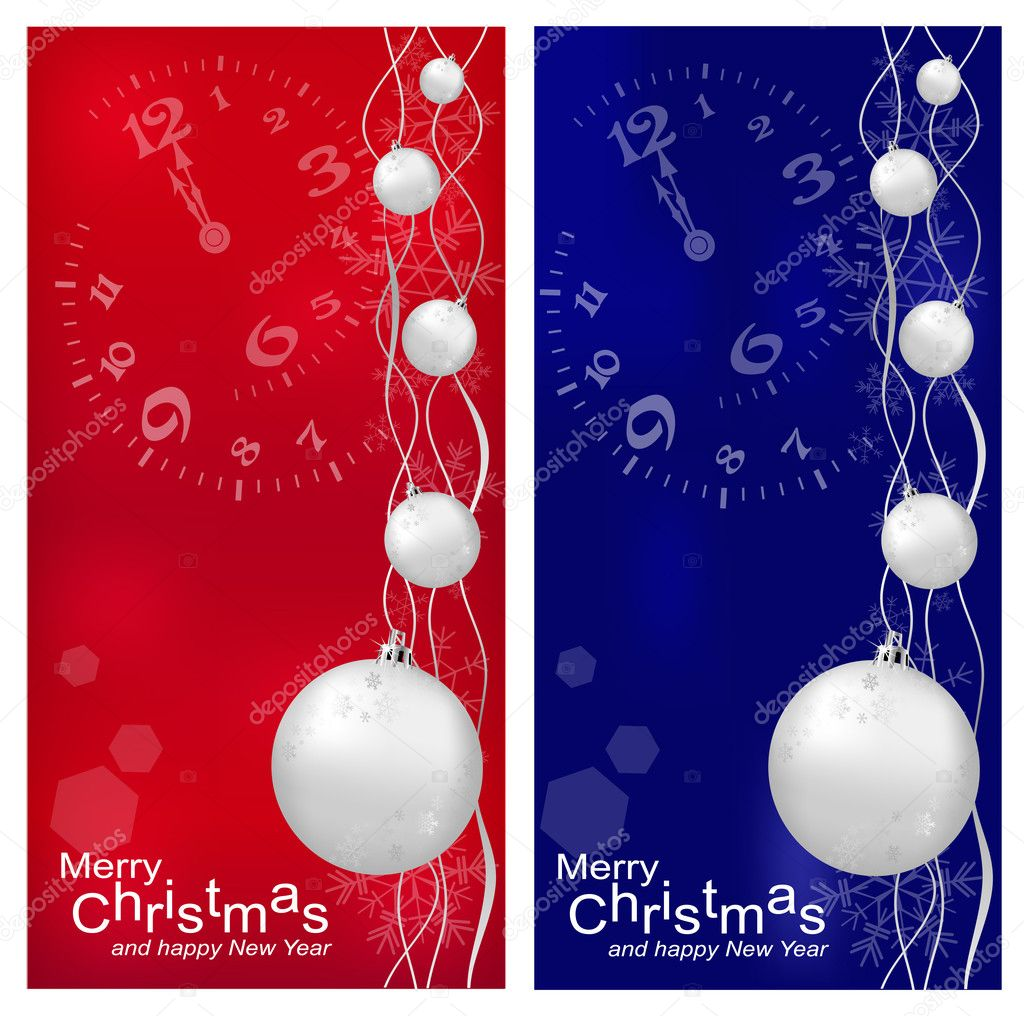 Vector Christmas, New Year's background with ball (red and darck blue) — Stock Vector #4070422