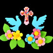 Easter candy decorations, flowers ,doves and cross on a black b — Stock Photo