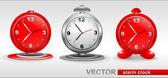 Red, gray vector Alarm Clocks — Stock Vector