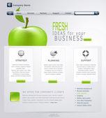 Vector Grey-green website with apple — Stock Vector