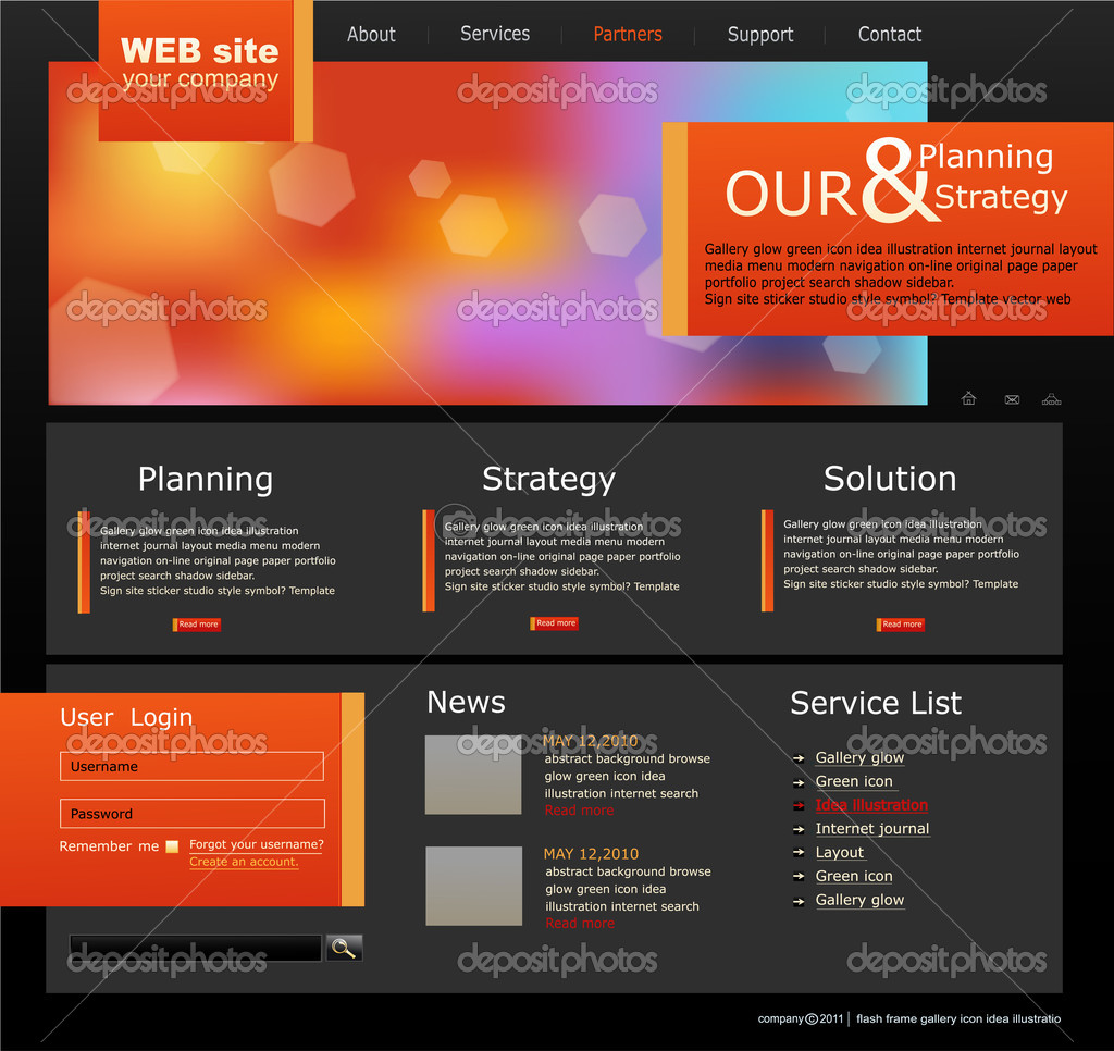 Vector Web site for business. Black with green sprout — Vektorgrafik #4488754