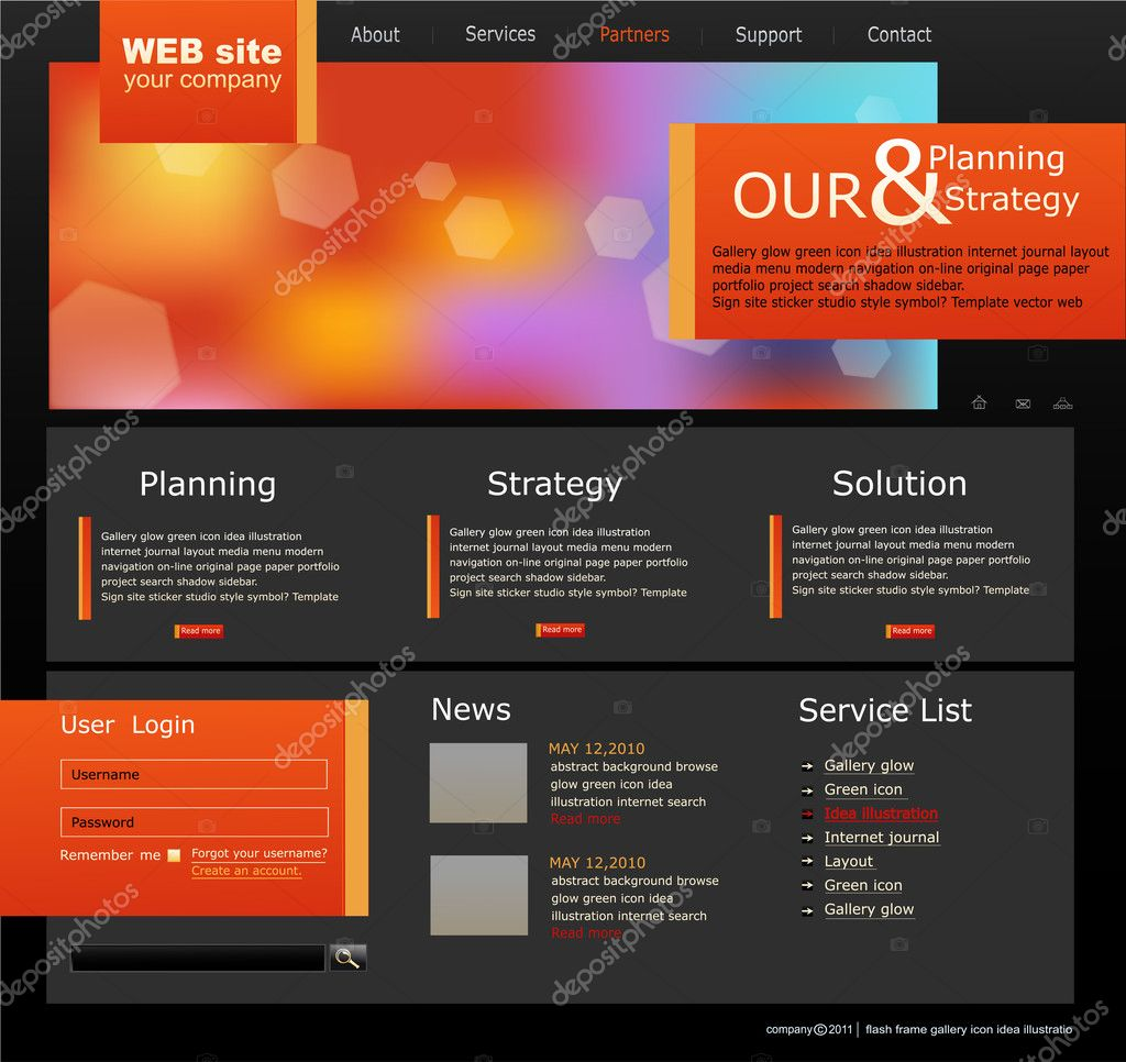 Vector Web site for business. Black with green sprout — Stockvektor #4488754