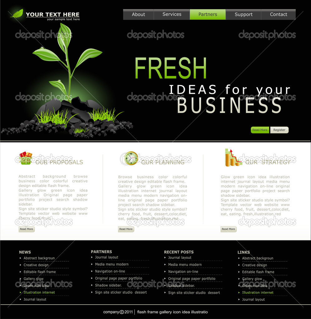 Vector Web site for business. Black with green sprout — Stock Vector #4488762