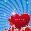 Royalty-Free Stock Vektorový obrázek: Red heart next to the gift boxes decorated with ribbons and star