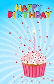 """Tårta med ett ljus och orden """"happy birthday"""" på en blå back — Stockvektor"""