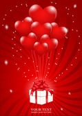 A lot of balloons-heart attached to a gift box with a red backgr — Stock Vector