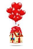 Haus als geschenk gebunden mit einem band mit einem bogen auf die balloons-er — Stockvektor