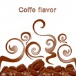 Vector fried hot coffee beans on white background with patterns — Imagen vectorial