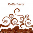 Vector fried hot coffee beans on white background with patterns - Stock Vector