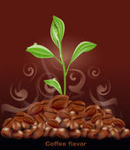 Vector sprout grows from a pile of coffee on a brown background — Stock Vector