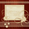 Congratulation vector vintage background with ribbons, flowers, - Stock Vector