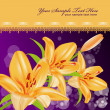 Vector card: orange lilies on sparkling blur background — Stock Vector