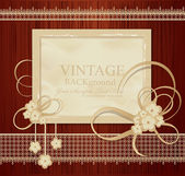 Congratulation vector vintage background with ribbons, flowers, — Stock Vector