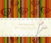 Biglietto di auguri vettoriale con perle cuori su uno sfondo a righe — Vettoriale Stock