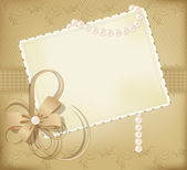 Congratulation gold vector retro background with ribbons,pearls, — Stock Vector