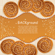 Vector background with  cookies sprinkled with sesame seeds and - Stock Vector