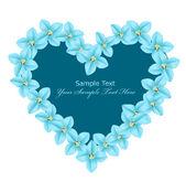Vektor herz bestehend aus blauen blüten auf weißem hintergrund — Stockvektor