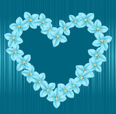 Vector heart consisting of blue flowers — Stock Vector