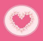 Heart vector, consisting of flowers, lace frame on a pink backgr — Stock Vector