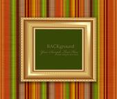 縞模様の壁にベクトル ゴールド フレーム — ストックベクタ