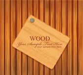 Targa di legno vettoriale inchiodato a uno sfondo in legno — Vettoriale Stock