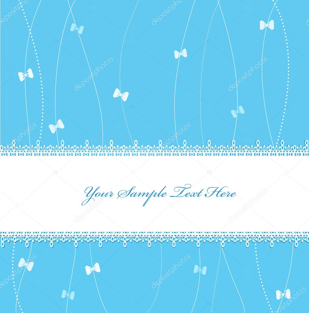 Blue Vector greeting card with ribbons and lace  Stock Vector #5260405