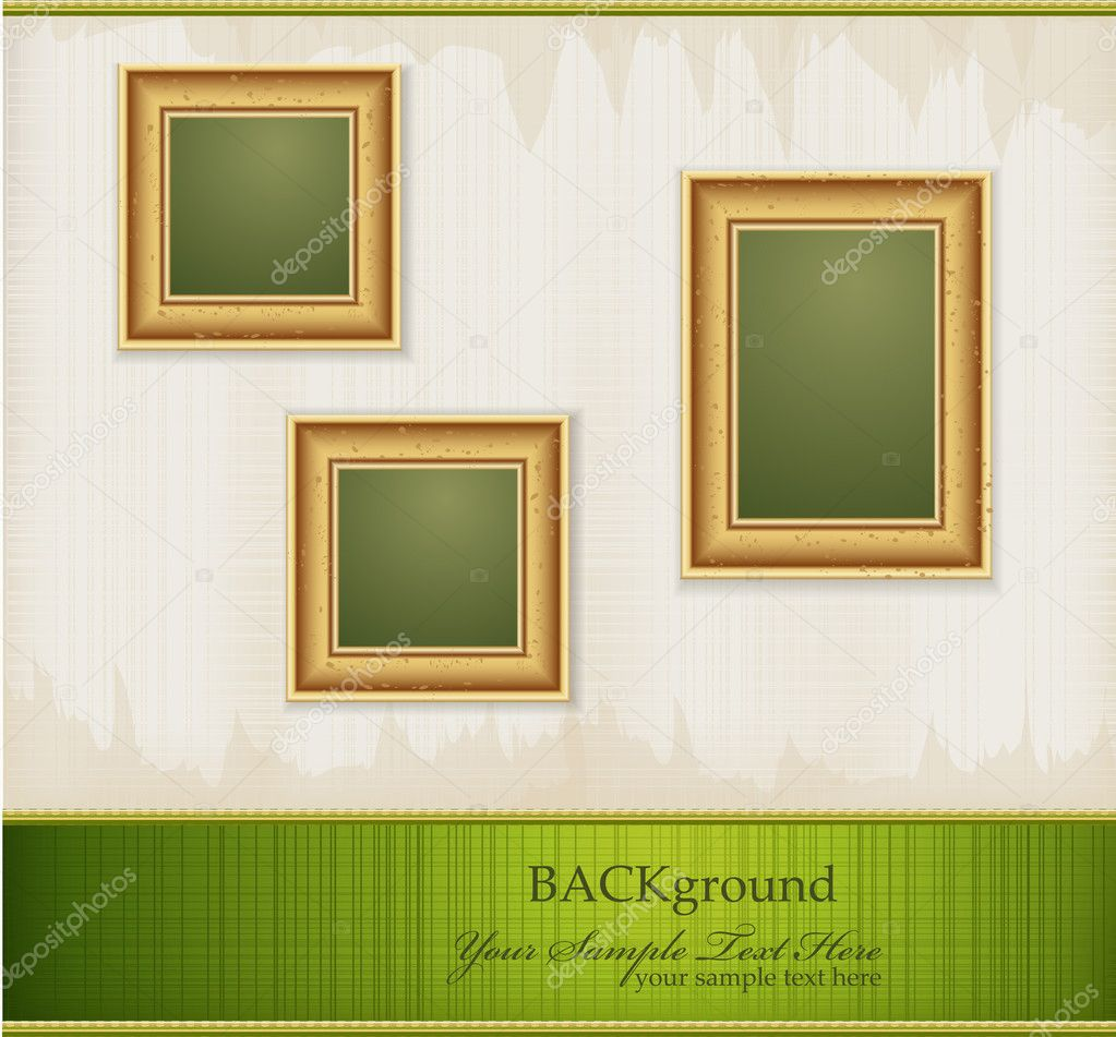 Vector vintage green abstract background with three gold frames — Stock Vector #5260460