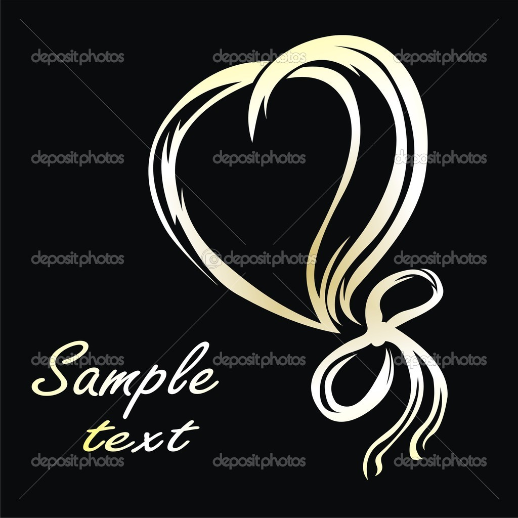 Gold heart in lines on black  — Stock Vector #4046937