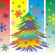 Stock Vector: Vector Colorful Christmas or New Year tree with snowflakes