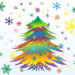 Vector Colorful Christmas or New Year tree with snowflakes - Stock Vector