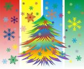 Vector Colorful Christmas or New Year tree with snowflakes — Stock Vector